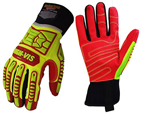 Seibertron HIGH-VIS HRIG Anti Impact Work Gloves Hi-Vis Oil and