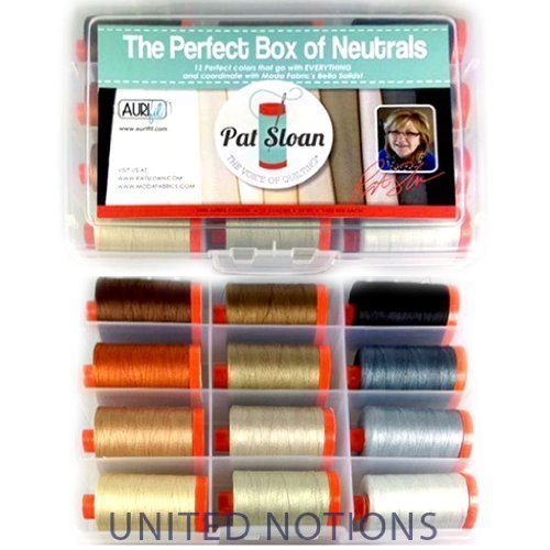 Aurifil Thread Set The Perfect Box of Neutrals by Pat Sloan 50wt Cotton 12 Large (1422 Yard) Spools by