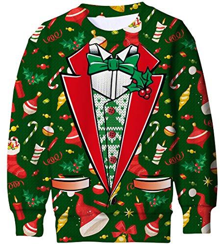 Goodstoworld 3D Gedruckte Weihnachten Kinder Herr Weihnachtspullover Hässlich Klassisch Sweatshirt Lange ärmel Christmas Cosplay Crazy Unhöflich Fancy Jumpers Gefälschtes Shirt XL