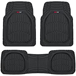 Motor Trend FlexTough Contour Liners - Deep Dish Heavy Duty Rubber Floor Mats - Black