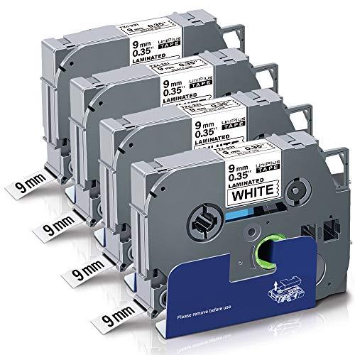 UniPlus 4x Kompatible Schriftband als Ersatz für Brother TZe-221 TZe221 TZ-221 9mm TZe Tape Schwarz auf Weiß für Brother P-Touch 1010 H105 H100LB H100R 1000 D200 D400 E100 H105WB D400VP P750W 2400