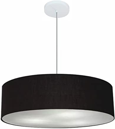 Lustre Pendente Cilíndrico Cúpula Tecido 60x15 cm, Vivare Iluminação, Pendente4221 PR, Preto, Grande