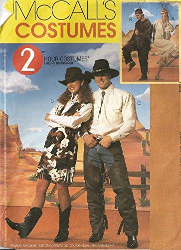Unbekannt McCall's Schnittmuster 2939 Cowboy und Indianer Kostüme – Größe S-M