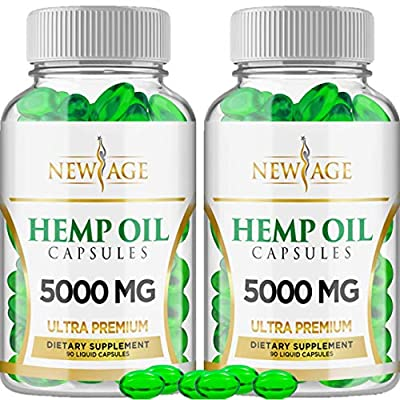 Hemp Oil Capsules Pills - 2 Pack - 5000 Hemp Extract - Natural Sleep & Mood Support - Made in The USA - Maximum Value - Rich in Omega 3,6,& 9 from NEW AGE