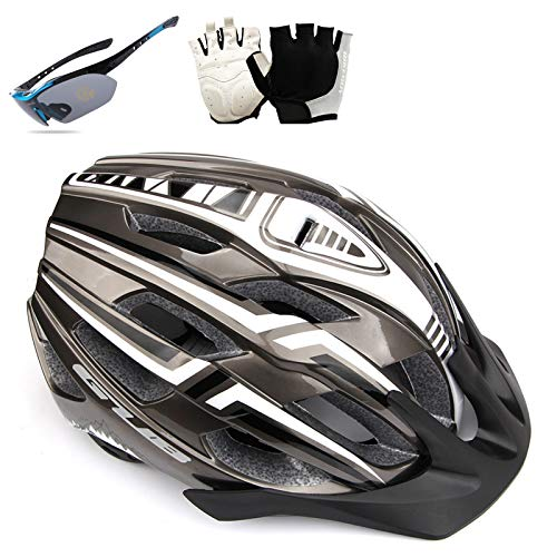 HVW Casco de Bicicleta para Hombres Mujeres, Casco de Bicicleta con luz USB Recargable Visera Desmontable Gafas y Guantes Cascos de Bicicletas de montaña y Carretera 22-23.22,C