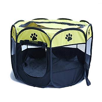 Tineer Portable Pet Cat Cage pour Chien Niche Chenil Tente Lit Parc d'enfant Camping de Plein air Pliable Maison de Caisse de Chien de Voyage Playpen (S:72×72×45cm, Jaune)