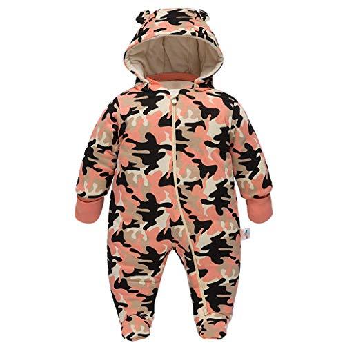 JiAmy JiAmy Baby Schneeanzüge Winter Overall mit Kapuze Baumwolle Strampler Mädchen Jungen Outfits Gelb 6-9 Monate