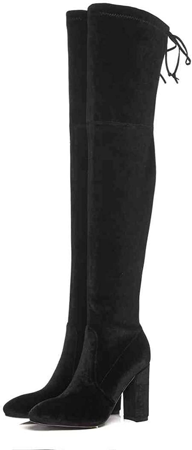 T-JULY Women Over-The-Knee Boots Classic Velvet Round Toe Slip on Thick High Heels shoes