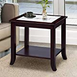 PrimaSleep 22' H Modern Natural Marble Top & Solid Wood Base Coffee Side End Sofa Table, White/Dark Brown