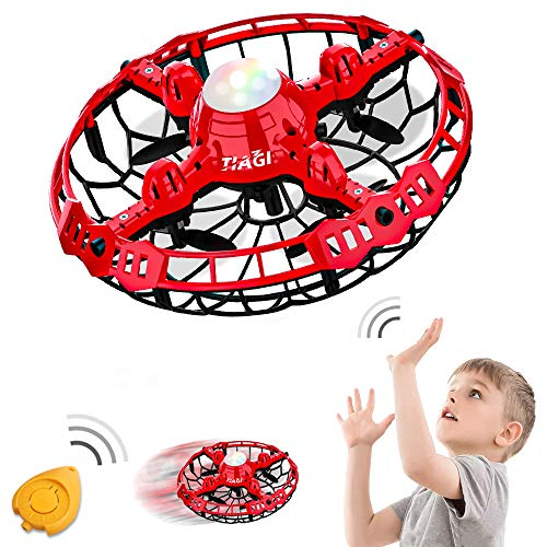 Tiagi Hand Operated Drones Toys for Kids or Adults - Mini Drones Hand Controlled Flying Ball Drone for Boys and Girls Motion Sensor Helicopter (Capsicum Red)