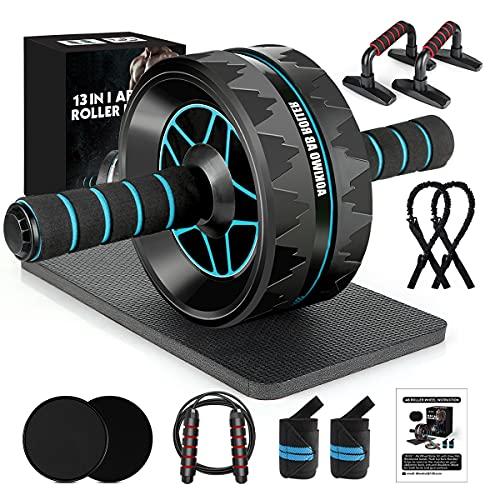 13-in-1 Ab Roller Wheel Kit, Home Gym Abs Workout Exercise Equipment for Men/Women (Black+Blue)