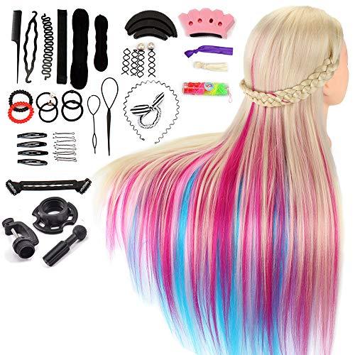 """Neverland Training Head, 26-28""""Rainbow 100% fibra sintetica Capelli lunghi Parrucchiere Cosmetologia Manichino Manichino Bambole Testa con morsetto da tavolo gratuito + Kit per intrecciare i capelli"""