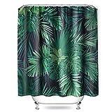 NIBESSER Duschvorhang dunkelgrün 180x200cm Anti Schimmel Tropisch Grün Blätter Wasserdicht Extra Lang Weiß Polyester Badezimmer Gardinen mit 12 Haken