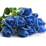 FiveSeasonStuff 造花 バラ 生花みたい リアルな手触り お祝い 飾り 生け花 結婚式 枯れない 多色選択 DIY 10枚入り ブルー色