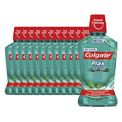 Colgate Plax Multiprotección, Enjuague Bucal, 500 Mililitros, 12 Unidades