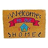 KOKO DOORMATS Zerbino Ingresso casa, Tappeto Ingresso casa Divertenti per Ingresso in Fibra di Cocco e Base Antiscivolo da PVC (Welcome To Our Home)