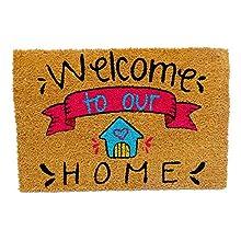 KOKO DOORMATS felpudos Entrada casa Originales, Fibra de Coco y PVC, Felpudo Exterior, Welcome to Our Home, 40x60x1.5 cm   Alfombra Puerta Entrada casa Exterior   Felpudos Divertidos para Puerta