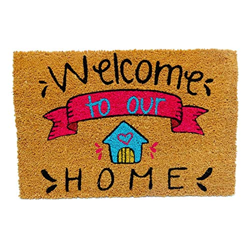 koko doormats Kook Time Felpudo para Entrada de Casa Original, Modelo Welcome to Our Home, Fibra de Coco y PVC, 40x60cm