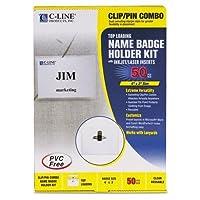 c-cline 95743バッジホルダーキット、トップロード、3x 4、ホワイト、コンボクリップ/ピン、50/ボックス
