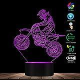 Lámpara De Ilusión 3D Luz De Noche Led Lámpara De Escritorio De Bicicleta De Tierra Iluminada Biker De Estilo Libre Moderno Para Cumpleaños De Niños O Regalos De Vacaciones