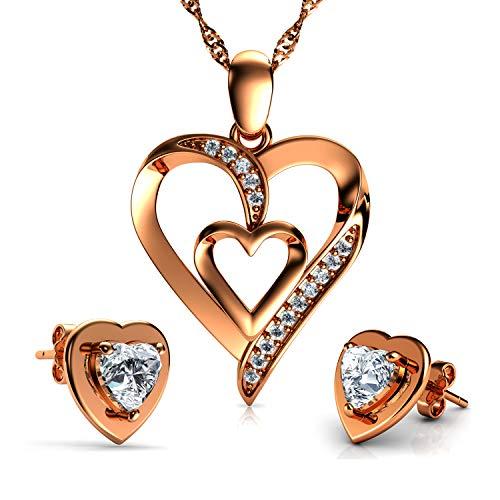 DEPHINI - Juego de colgantes y pendientes de corazón de oro rosa - Collares y pendientes de plata de ley 925 - Pendientes y pendientes de cristal CZ - Cadena de plata chapada en rodio de 45,72 cm
