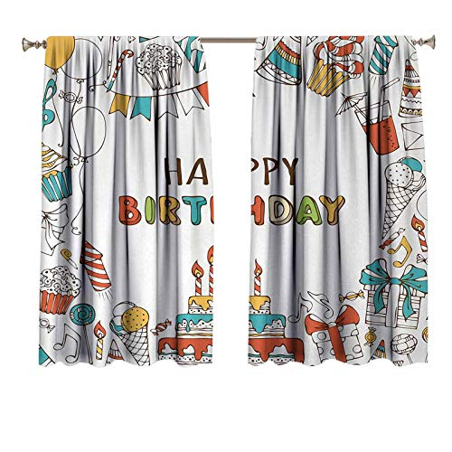 Birthday Bedroom Curtains Hand Drawn Birthday Celebration Sweets Party Blowouts Presents Music Note Garlands Short Curtain Panels for Bedroom & Kitchen 72x63 inch