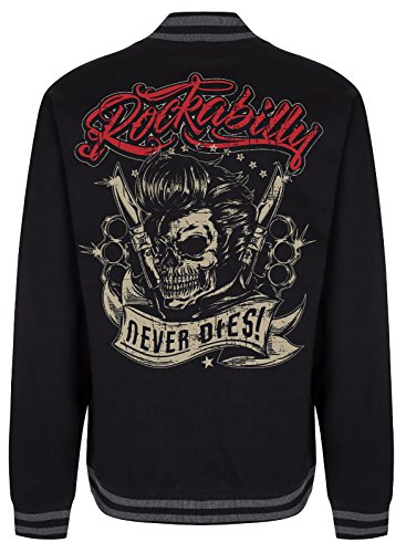 Gasoline Bandit Design - Rockabilly College Baseball-Jacke: Never Dies! L