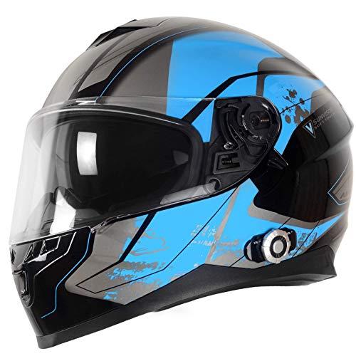 ququer Bluetooth-Helme Doppelvisier-Integralhelm Klappbares modulares Motorrad Bluetooth-Helm Motorradhelme Eingebaute Intercom-Kommunikationssysteme FM-Radio für 6 Fahrer-D  2XL