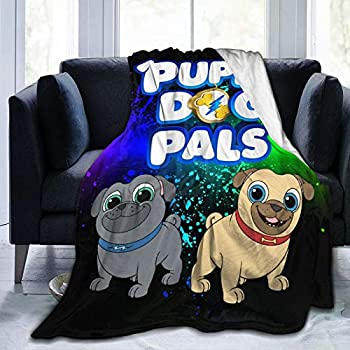 Puppy Dog Lovely Pals 3D Printing Blanket Flannel Super Soft Hypoallergenic Plush Bed Couch Living Room and Warm Plush Air-Conditioning Quilt 50 X40