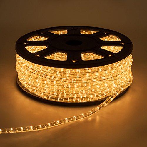LuminalPark Tube Lumineux d'extérieur en Rouleau, Ampoule à Incandescence, Cordon de 13 mm, 230V, 50 m, lumière Fixe