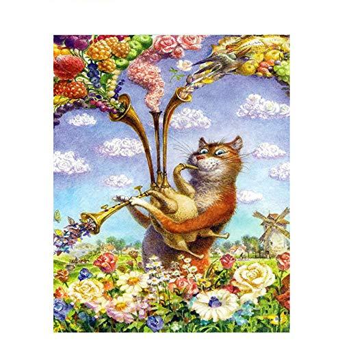 MURAEDLS schilderen op nummer-kit voor volwassenen kinderen beginners trompet Cat DIY canvas olieverfschilderij Home Decor cadeau, 40 * 50 cm frameloos
