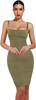 Maketina Women Sexy Strap Sleeveless Bodycon Mini Club Party Bandage Dress