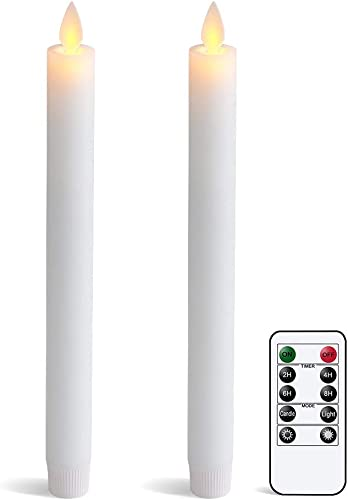 """popular Eldnacele Flameless Flickering Moving Wick Taper Candles with Remote Set of 2, Window Candles Warm popular White Real Wax Unscented 9.5""""2 Pack White for Home online sale Wedding Party Christmas Decoration online sale"""