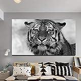 WADPJ Negro Blanco Animal Cabeza de Tigre Pinturas sobre Lienzo Cuadros Arte de la Pared Carteles Imagen Imprimir Sala de Estar Decoración para el hogar-60x90cmx1 Piezas sin Marco