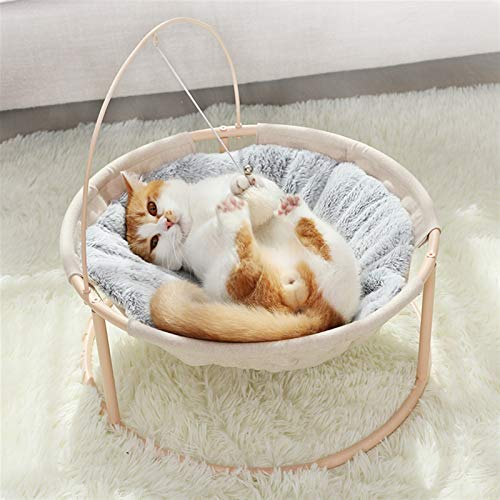 JSJJAUA Haustierbett Cat's Nest Four Seasons Universal Cradle Stuhl Katze Prinzessin Hundest Nest Hund Bett Netto Hund Katze Bett Cat Couch Pet Supplies (Color : Winter beige)