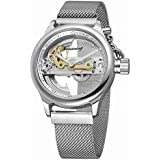 Unique Mens Automatic Watch Transparent Watch Dial Hollow Skeleton Silver Tone Mesh Band Watch (Silver White)