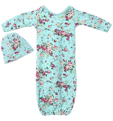 Posh Peanut Infant Baby Gown Set Newborn Girl's Floral Cotton Layette with Beanie Turquoise