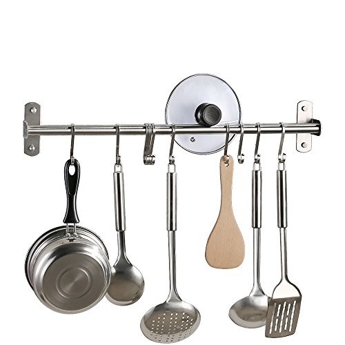 KES Kitchen Tool and Utensil Rack with 10 Hooks Multipurpose 22-Inch Wall Mounted, Brushed SUS304 Stainless Steel, KUR209S55-2