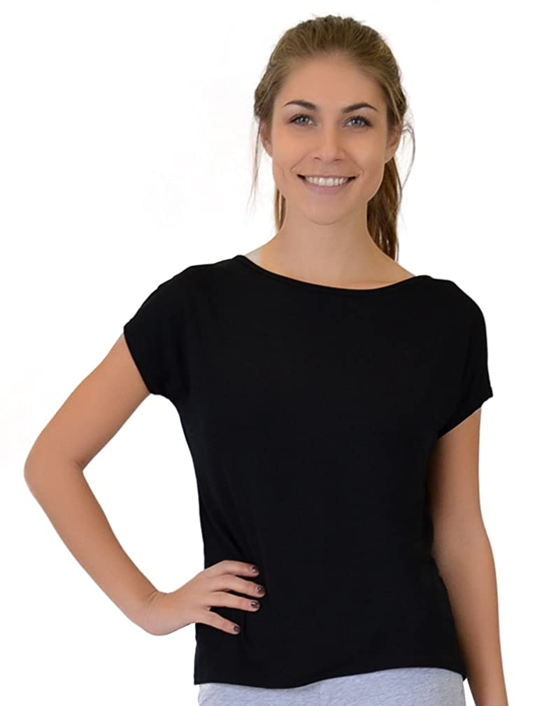 Stretch is Comfort Women's High-Low Boatneck Line Modal Tee