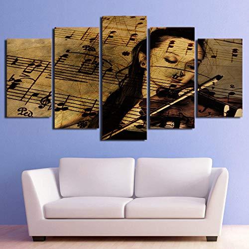 SWMLDM 5 Piezas Lienzo Pinturas Cuadros Rendimiento De Violín De Partitura Musical 200X100Cm Modular Sobre Artes De La Pared Al Óleo Poster Moderna Impresa Hd Sala De Estar Decoración Del Hogar Creati