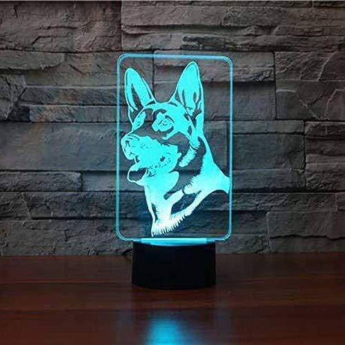HPBN8 Ltd Ilusión Optica 3D Perro Pastor Luz Nocturna ilusión Optica Lámpara 7 Colores Cambiantes Touch Switch USB Power Juguetes Decoración Navidad Cumpleaños Regalo