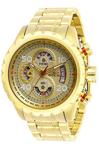 Invicta 28161 Aviator Reloj para Hombre acero inoxidable Cuarzo Esfera oro