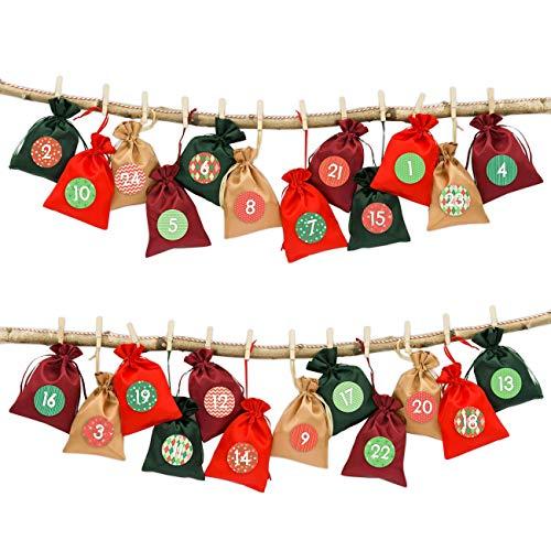 24 Sacchetti in Stoffa per Il Calendario dell'Avvento da riempire - con spago da Cucina e mollette - Sacchetti in Stoffa da Decorare - Natale Classico n. 10