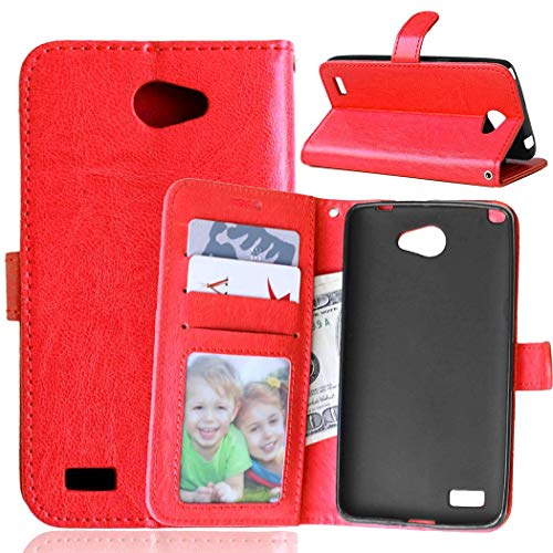 Wenlon Handy PU Hülle für LG Bello 2 Prime II, Hochwertige Business Kunstleder Flip Wallet Handyhülle mit Card Slot Funktion, Bracket Funktion - Rot