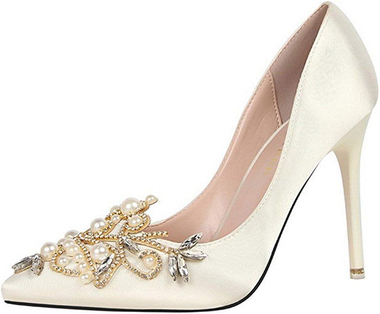 Unm Women's Sexy Rhinestone Satin Dress Stiletto High Heels Slip On Pointy Toe Pumps shoes