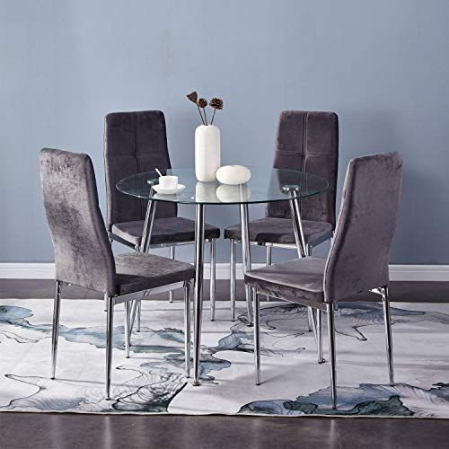 GOLDFAN Esszimmergruppe mit Glass Esstisch und 4 Esszimmerstuhl aus Stoff Samt Stuhl Glastisch und Grau Stuhl Runder Tisch für Wohnzimmer Küche