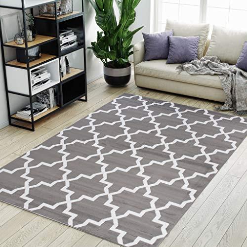 Carpeto Rugs Modern Teppich für Wohnzimmer Schlafzimmer Esszimmer - Marokkanisches Muster Kurzflorteppich - Grau 80 x 150 cm