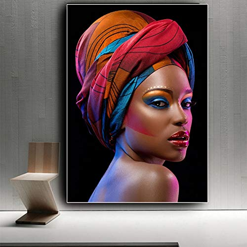 Sexy black nude African woman with red lips canvas painting poster and engraving mural in living room 60x90 Frameless