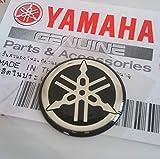 Genuine 18mm Diameter Yamaha Tuning Fork Decal Sticker Emblem Logo Black / Silver Raised Domed Gel Resin Self Adhesive Motorcycle / Jet Ski / ATV / Snowmobile