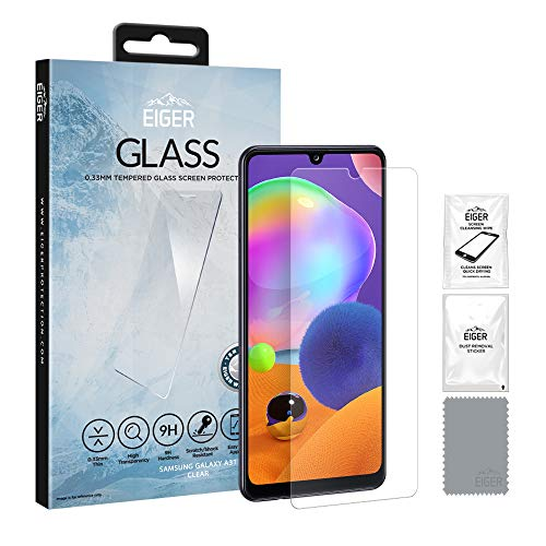 EIGER 2.5D - Protector de pantalla de cristal templado para Samsung Galaxy A31 (transparente, incluye kit de limpieza)
